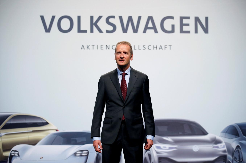 Herbert Diess, Volkswagen's nieuwe baas, eerder dit jaar tijdens Volkswagens jaarlijkse aandeelhoudersmeeting.