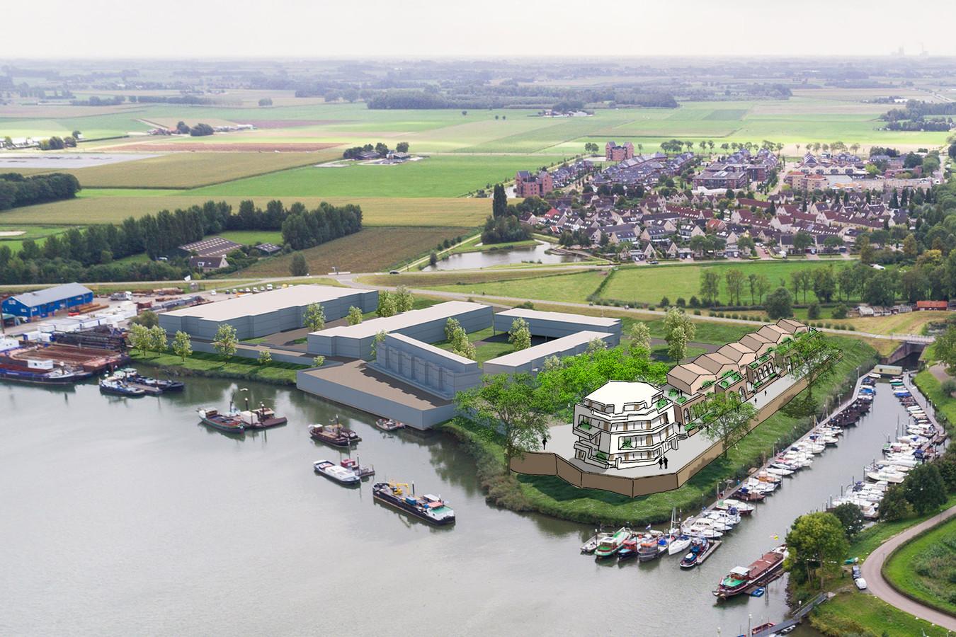 Een impressie van het plan een de Hoge Maasdijk in Woudrichem. Er komen honderd woningen. Honderden potentiële huurders en kopers staan in de rij, tegelijkertijd is er ook veel kritiek op het plan, mede omdat de wijk het beeld van de Nieuwe Hollandse Waterlinie zou verpesten.