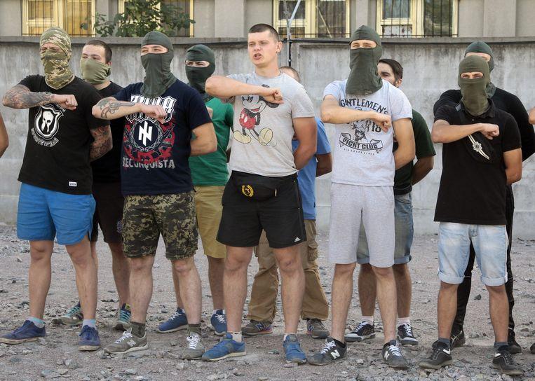 MICKEY MOUSE Het extreem-rechtse Azov-bataljon in Kiev, Oekraïne, 2015. Beeld ap