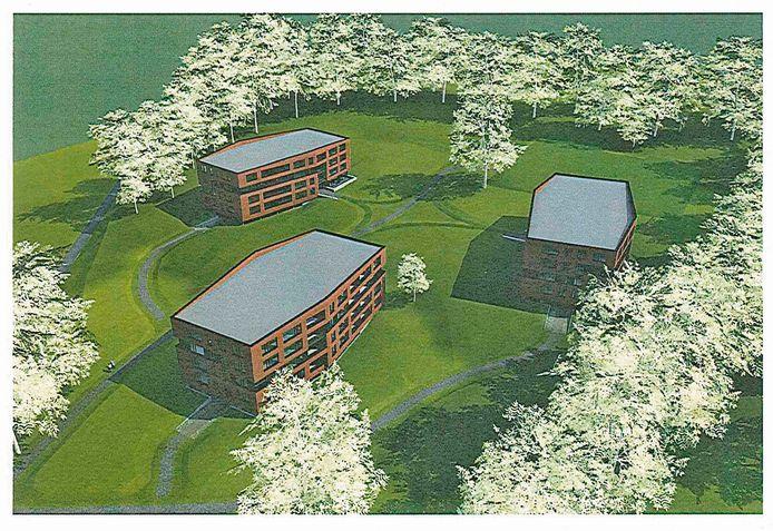 Een impressie van het plan van Kuiper Bouw voor het voormalige Rhederhof.