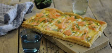 Wat Eten We Vandaag: Plaatpizza met asperges en gerookte zalm