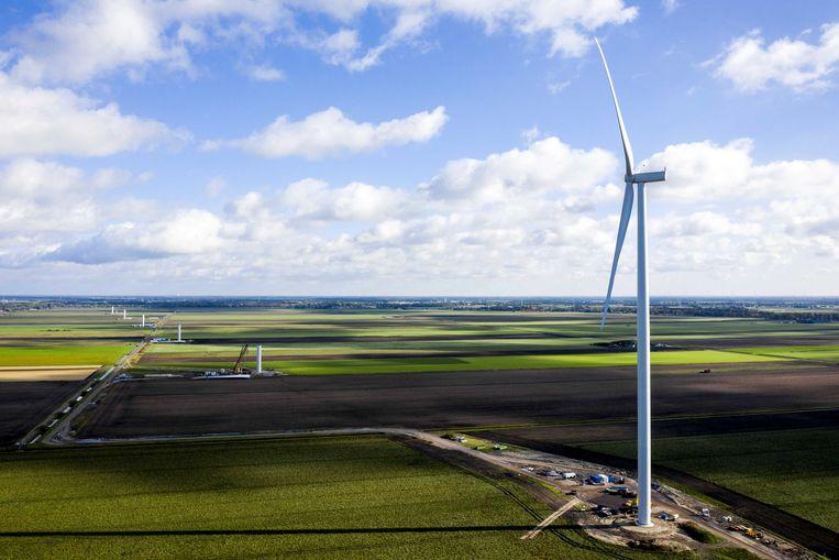 Dronefoto van windpark De Drentse Monden en Oostermoer in het noordelijk deel van de Drentse Veenkoloniën. Beeld ANP