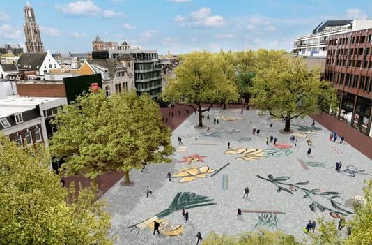 Het mozaïek van kunstenares Jennifer Tee is volgens de poll van het AD Utrechts Nieuwsblad de grote favoriet van de vijf kunstwerken die in aanmerking komen voor plaatsing op het Vredenburgplein.