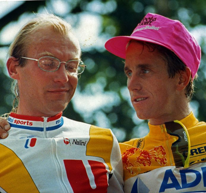 Laurent Fignon (links) en Greg Lemond.