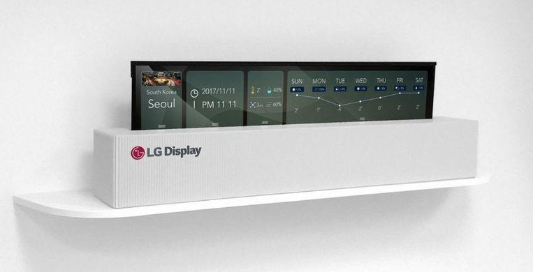 En LG's tv in bijna opgerolde staat.