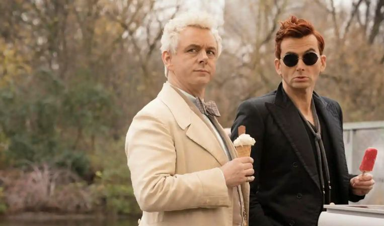 Michael Sheen en David Tennant in 'Good Omens'.