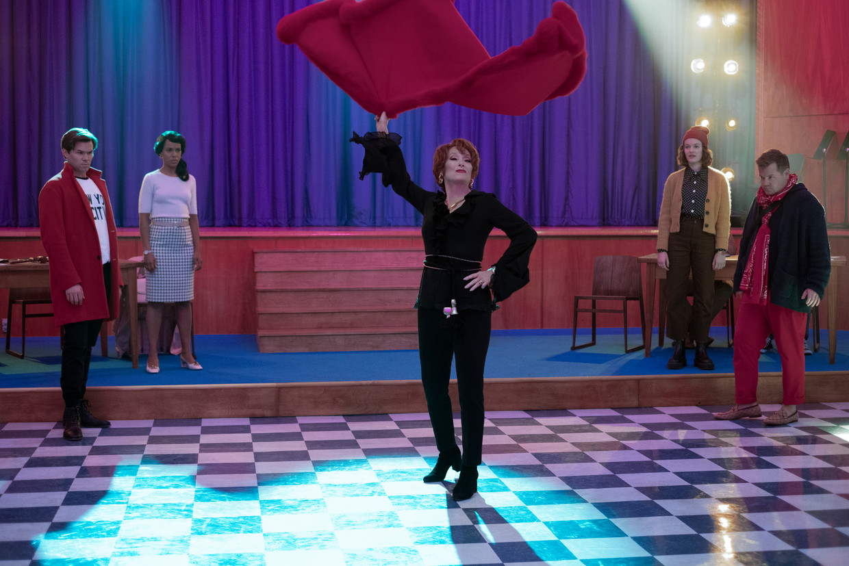 'The Prom' Vlnr: Andrew Rannells, Kerry Washington, Meryl Streep, Jo Ellen Pellman en James Corden  Beeld Netflix