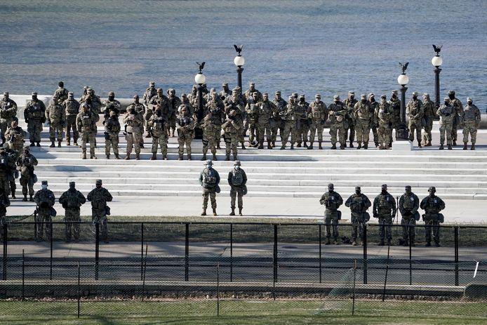 Leden van de Nationale Garde tijdens de speech van kersvers president Joe Biden op diens inauguratie woensdag.