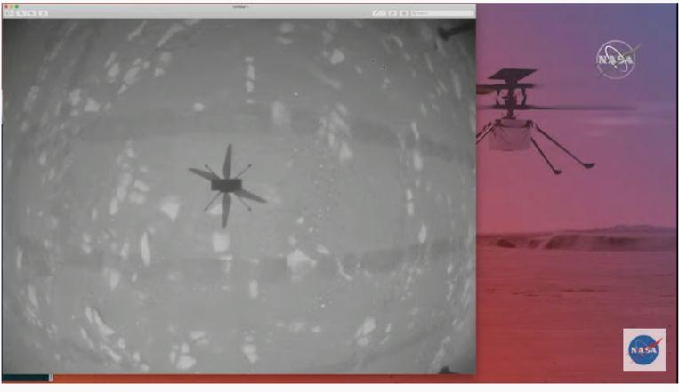 Beeld van de schaduw van Ingenuity, recht naar beneden genomen met de navigatiecamera van het helikoptertje. Beeld Nasa