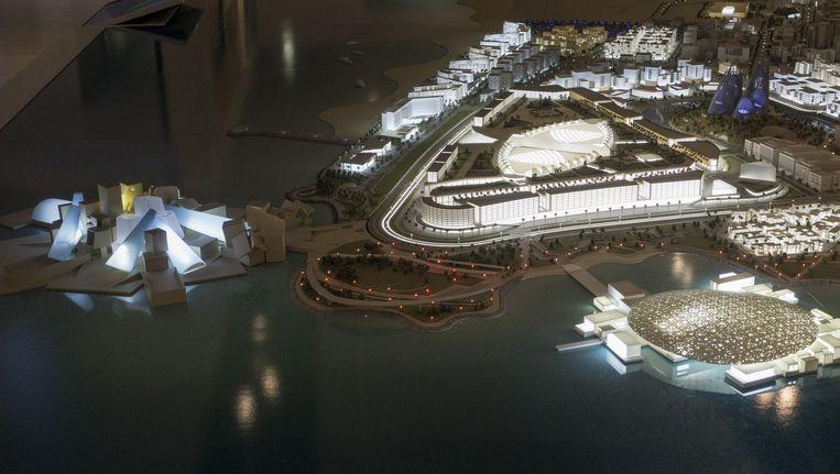 Artist's impression van het Saadiyat-eiland, aan de oostkust van Abu Dhabi, waarop meerdere topmusea zullen verrijzen. Beeld