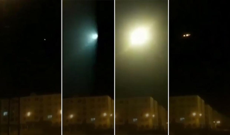 Het moment waarop de raket lijkt in te slaan op het vliegtuig. Beeld New York Times