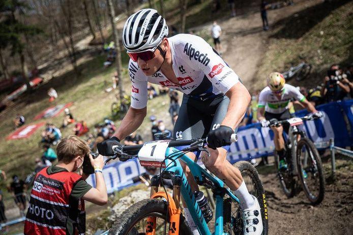 Mathieu van der Poel op de WB Mountainbike in Albstadt.