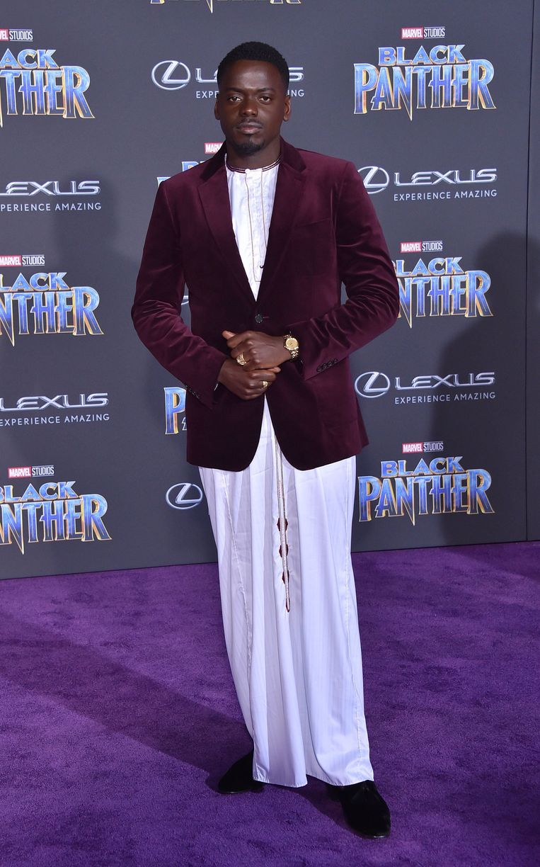 Daniel Kaluuya op de première van 'Black Panther' in Los Angeles.  Beeld Photo News