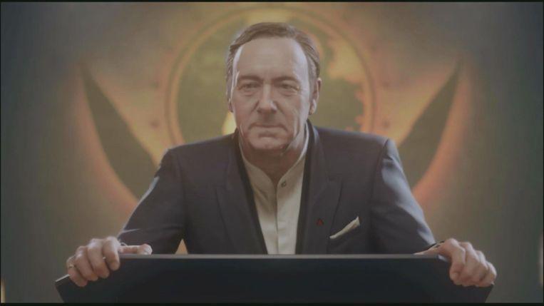 Kevin Spacey's personage uit 'Call of Duty: Advanced Warfare' wordt manu militari ceo van de vrije wereld. Beeld Activision
