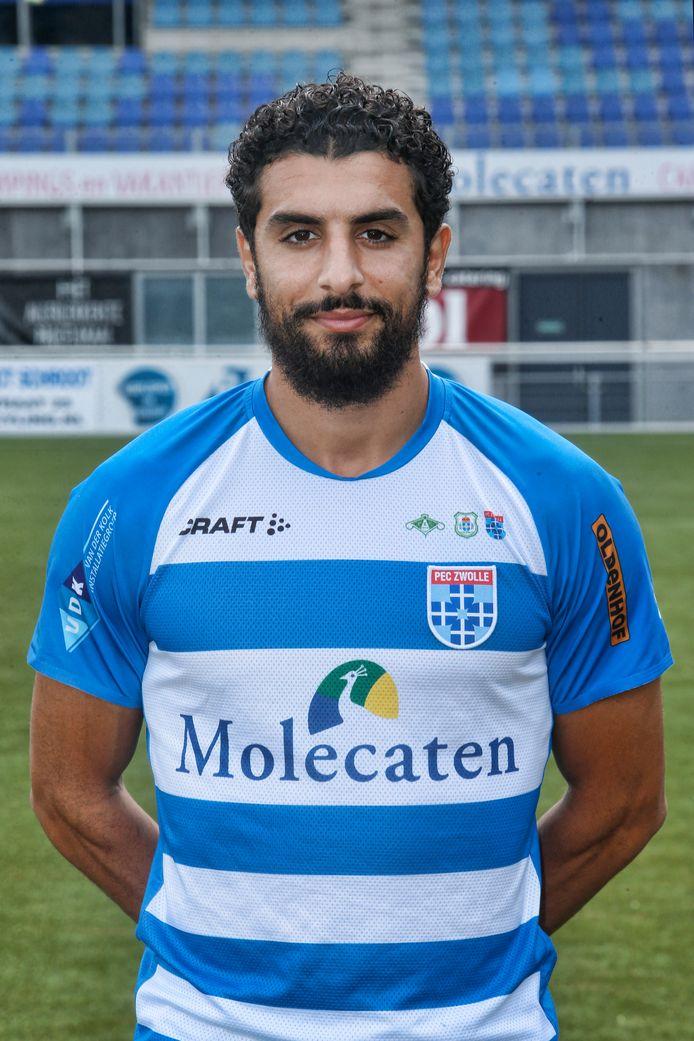 Youness Mokhtar als speler van PEC Zwolle.