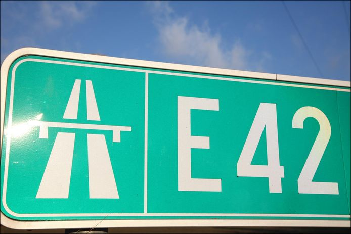 Sign board indicating an E42 motorway 11/12/12        PICTURE NOT INCLUDED IN THE CONTRACT