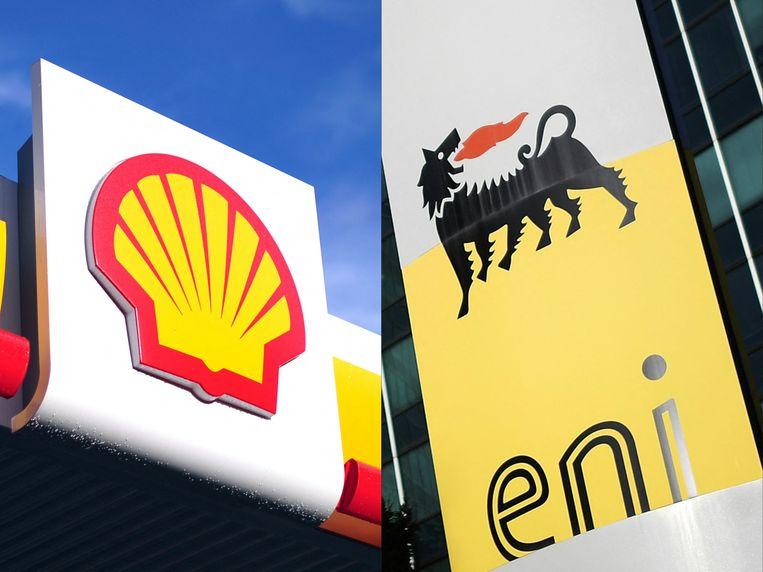 De logo's van Shell en Eni. Beeld AFP