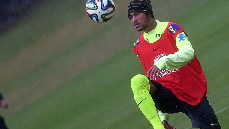 De Braziliaanse aanvaller Neymar tijdens een training. Beeld afp