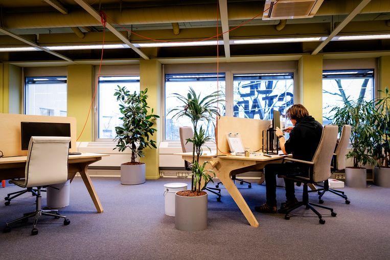 In de kantoortuin van De Stadstuin in Utrecht zijn zzp'ers aan het werk. Beeld ANP