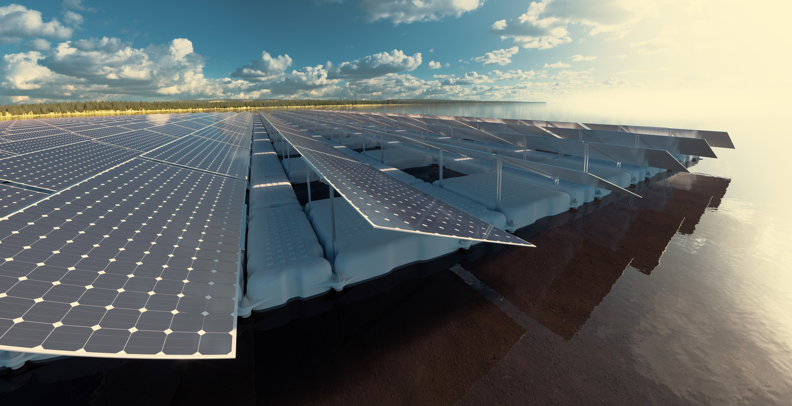 Ter illustratie: drijvende zonnepanelen.
