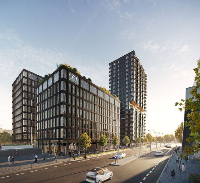Een impressie van het plan EDGE met kantoren aan de Stationsweg (voorgrond) en een woontoren (achtergrond) aan de Dommel in Eindhoven.