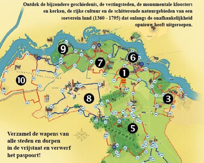 De omslagmap van de tien routes die fietsers het Land van Ravenstein laten ontdekken.