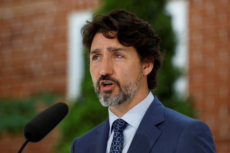 De Canadese premier Justin Trudeau tijdens een persconferentie bij zijn ambtswoning in Ottawa, Canada. (22/06/2020) Beeld REUTERS