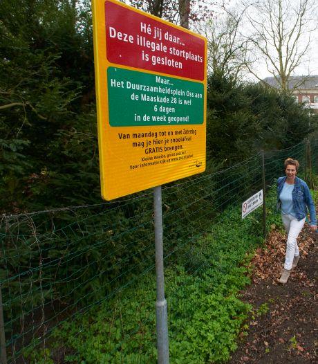 Dit bord moet een einde maken aan de metershoge illegale berg groenafval in Berghem