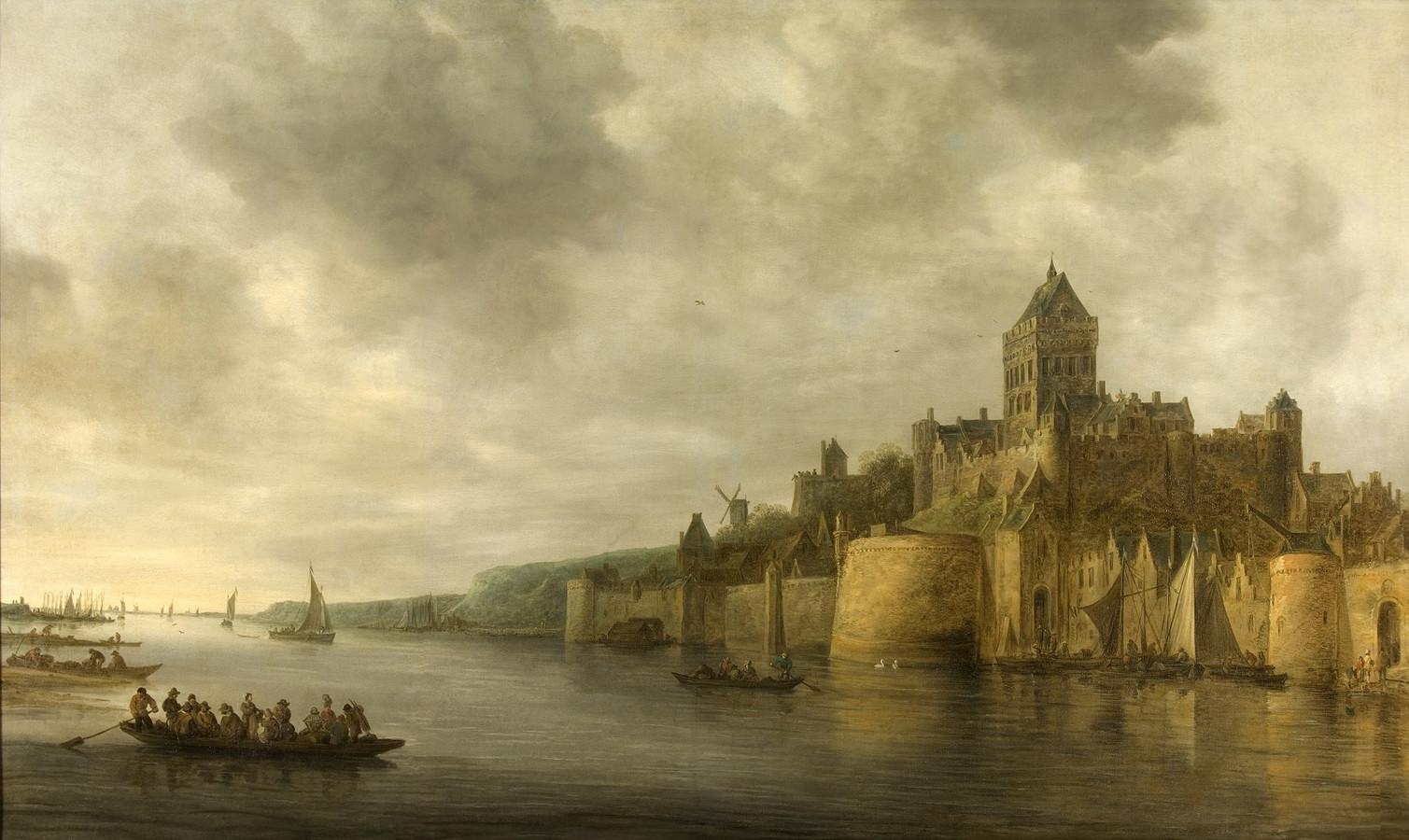 Het schilderij 'Gezicht op Nijmegen' van Jan van Goyen, met aan de voet van de Valkhofburcht de bastei: de hoefijzervormige verdedigingstoren. Naar ontwerp van de beroemde kunstenaar Albrecht Dürer die vijfhonderd jaar geleden, op 18 november 1520, overnachtte in Nijmegen.