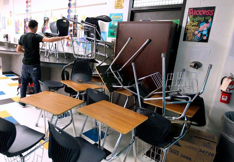 Een archiefbeeld van een lockdown-oefening in de Moody High School, in Corpus Christi, Texas.