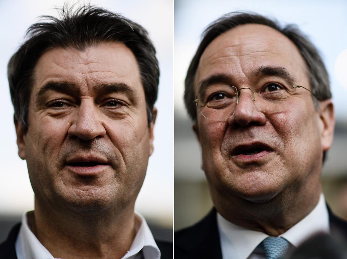 CSU-voorzitter en minister-president van Beieren Markus Söder (links) en CDU-leider en deelstaatpremier Armin Laschet van Noordrijn-Westfalen (rechts).