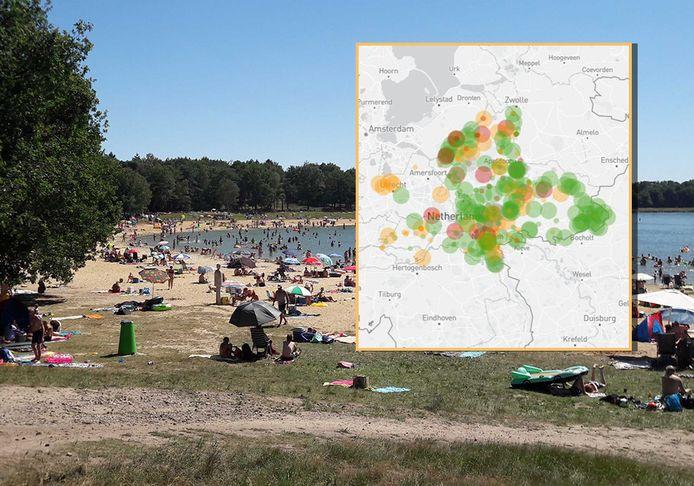 Het is druk bij de recreatieplassen op de Veluwe. Zoals hier (achtergrond) op het Heerderstrand.