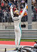 Lewis Hamilton nadat hij de pole position heeft veroverd in Amerika.