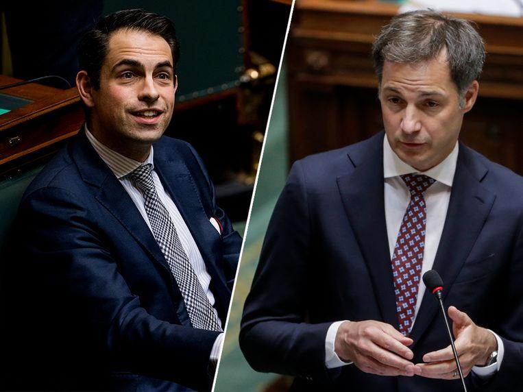 Vlaams Belang-voorzitter Tom Van Grieken en premier Alexander De Croo (Open Vld). Beeld Belga / EPA