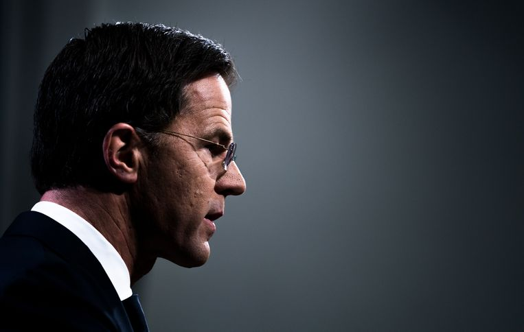 Premier Mark Rutte tijdens de persconferentie van afgelopen vrijdag. Beeld Freek van den Bergh