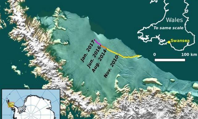 Een gigantische ijsberg ter grootte van een kwart van Wales dreigt af te breken van de Antarctische Larsen C-ijsplaat.