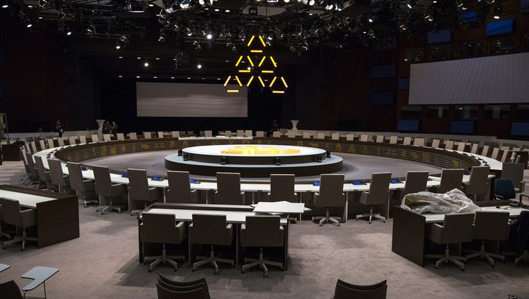 De ronde vergadertafel in het World Forum in Den Haag, in de aanloop naar de nucleaire top (NSS) die plaatsvindt op 24 en 25 maart. Beeld anp