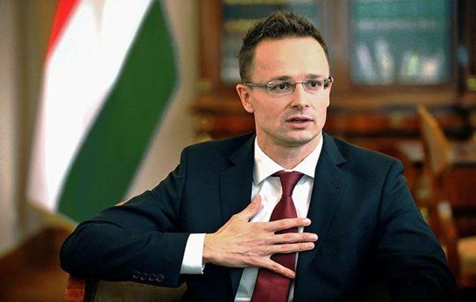 De Hongaarse minister van Buitenlandse Zaken Péter Szijjártó.