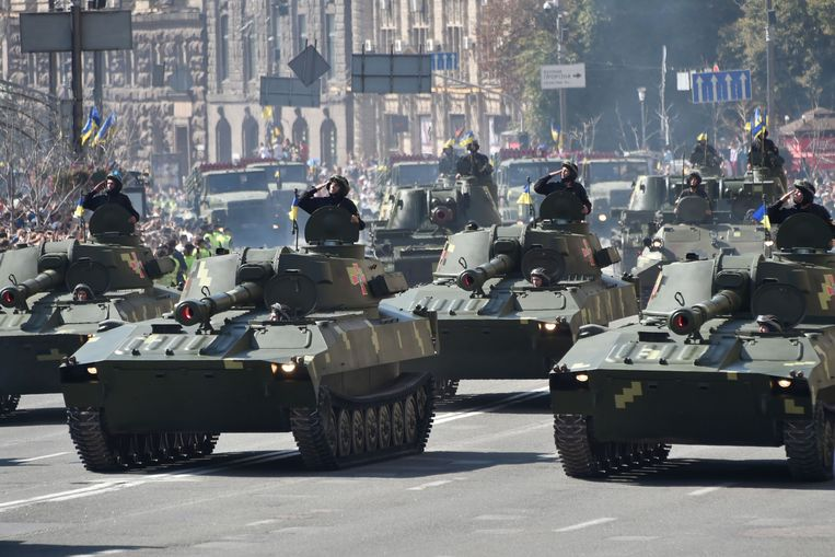 Het Oekraïense leger tijdens een militaire parade op 24 augustus 2018. Beeld AFP