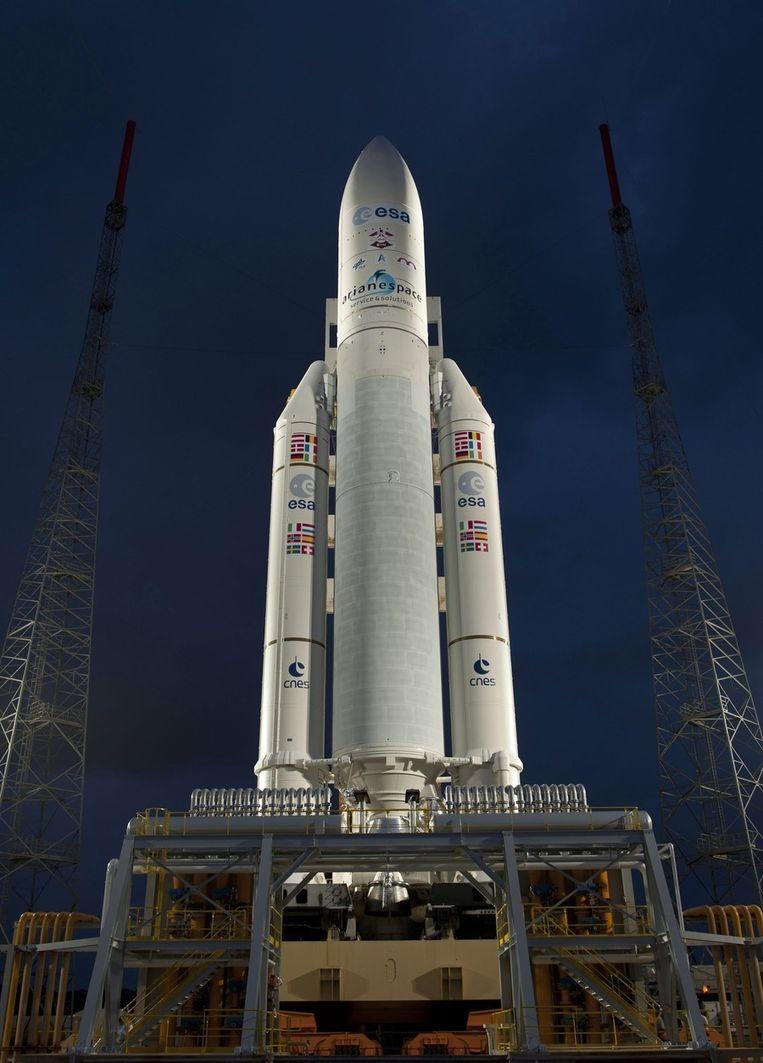 De Ariane 5 raket, maar daaraan de Albert Einstein-capsule. Beeld epa