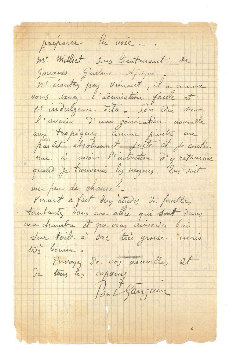 De brief van Vincent van Gogh uit 1888, geschreven aan Émile Bernard.  Beeld EPA