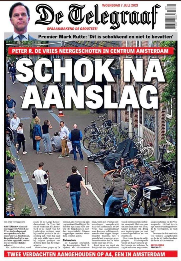De voorpagina van De Telegraaf van woensdag, de dag nadat Peter R. de Vries is neergeschoten in Amsterdam. Beeld .