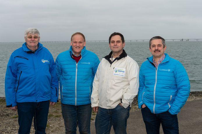 De top-4 van Partij voor Zeeland, met (vlnr) Marien Weststrate, Chris Koopman, Gert-Jan Minderhoud en Kees Hanse.