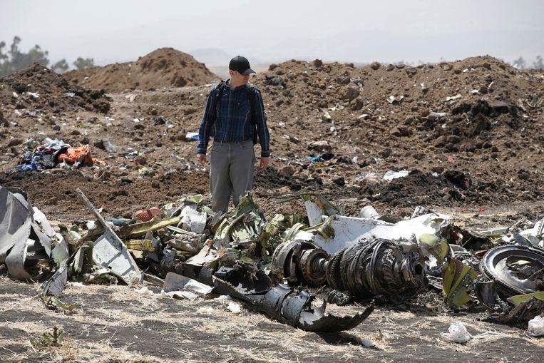 Crashsite van de Boeing 737 van Ethiopian Airlines Beeld REUTERS