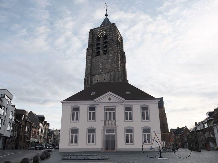 Simulatiebeeld van de renovatie van het oude gemeentehuis in Mol.