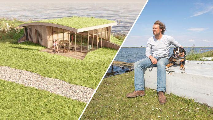 Een artist impression (links) van de ecolodges die 'boer' Bastiaan van 't Westeinde nog altijd het liefst buitendijks aan het Veerse Meer zou willen bouwen. Nu dat lastig lijkt te worden, zet Van 't Westeinde in op plan B: binnendijkse huisjes.