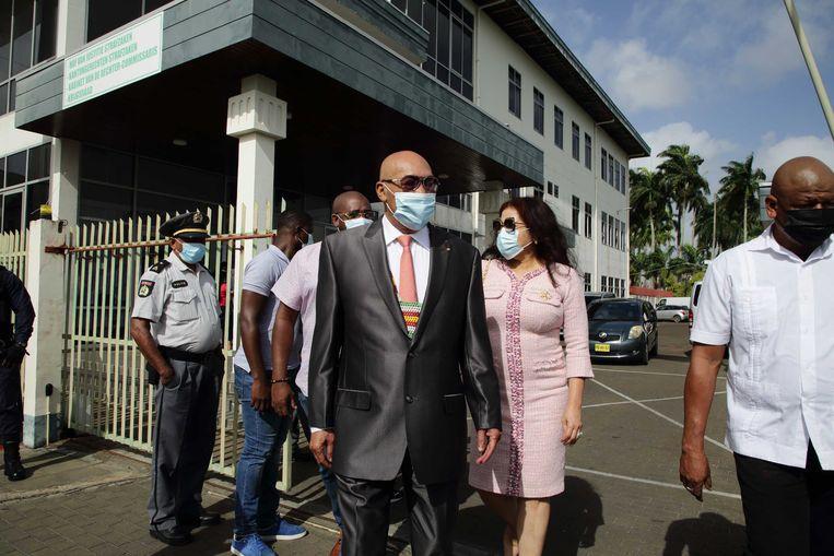 Hoofdverdachte Desi Bouterse bij de rechtbank voor de behandeling van zijn zaak. Het gaat om de strafzaak waarin de voormalig president en legerleider hoger beroep heeft aangetekend tegen zijn veroordeling van twintig jaar cel in november 2019. Beeld ANP