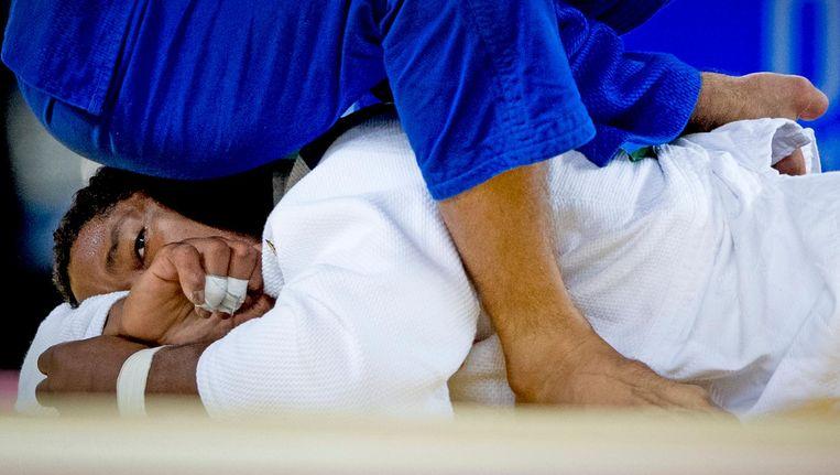 Dex Elmont tijdens de achtste finale het judotoernooi in de Carioca Arena op de Olympische Spelen van Rio. Beeld anp