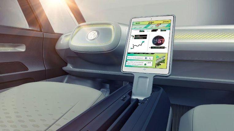 Het dashboard en touchscreenstuur. Beeld Volkswagen