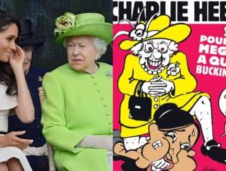 """""""Op elk niveau verkeerd"""": koningin Elizabeth verstikt Meghan Markle met haar knie op cover 'Charlie Hebdo'"""